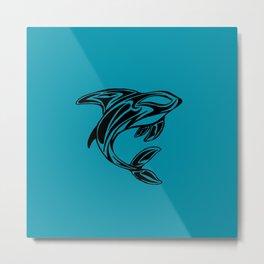 Orca Whale Tattoo Turquoise Metal Print