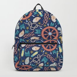 Steering wheel and tasty oyster with glass of champagne Backpack