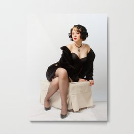 """""""Fur Coat #1"""" - The Playful Pinup - Sexy Vintage Pinup in Fur Coat by Maxwell H. Johnson Metal Print"""
