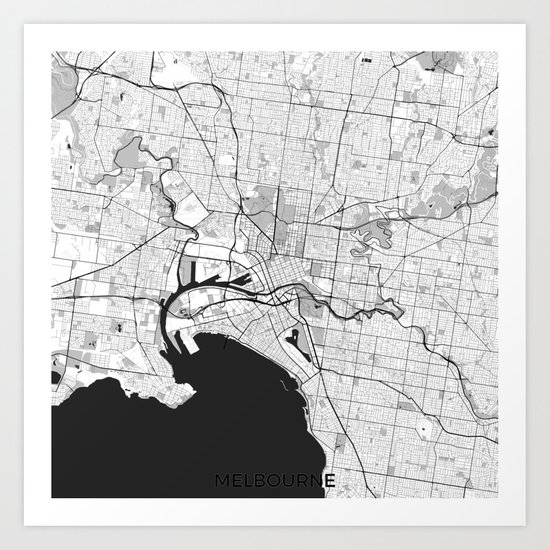 Melbourne City Map Gray Art Print