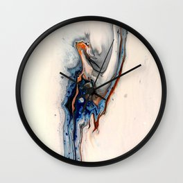 Simple Blue Fluid Flow Abstract Wall Clock