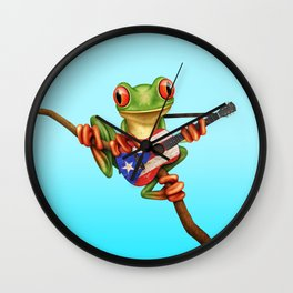 Tree Frog Playing Acoustic Guitar with Flag of Puerto Rico Wall Clock
