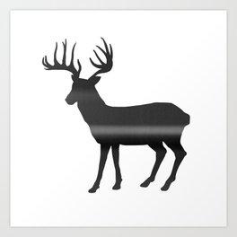 Deer print, Black & White Art Print