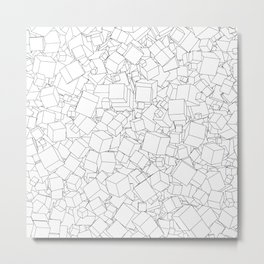 Cubic B&W / Lineart texture of 3D cubes Metal Print