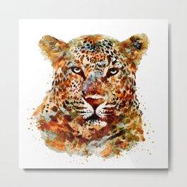 Leopard Head watercolor Metal Print