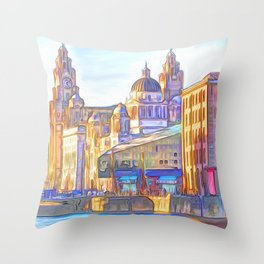 World famous Three Graces (Digital painting) Throw Pillow