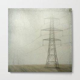 Pylons in the Mist Metal Print