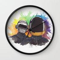daft punk Wall Clocks featuring Daft Punk by Vitalii Dumyn