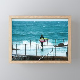 Surfer waiting for entry into the surf at Bronte Beach. Sydney. Australia. Framed Mini Art Print