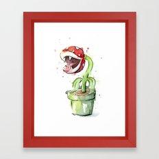 Piranha Plant Art Nintendo Mario Videogame Geek Gaming Framed Art Print