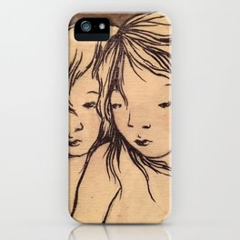 Girls caught in the wind iPhone Case