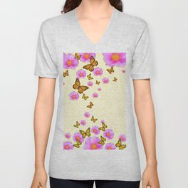 ABSTRACT PINK ROSES & MONARCH BUTTERFLIES Unisex V-Neck
