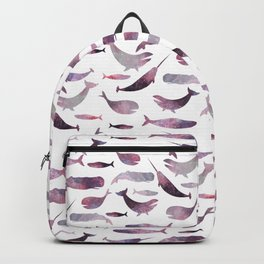 pink narwhale, narwhales art, purple whale, watercolour art Backpack