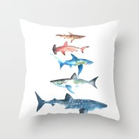 sharks Throw Pillows featuring Sharks by Amee Cherie Piek