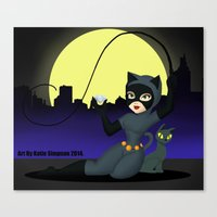 catwoman Canvas Prints featuring Catwoman  by Katie Simpson a.k.a. Redhead-K