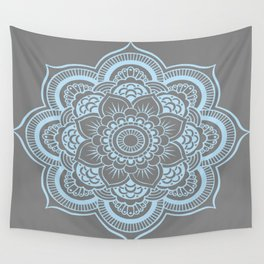 Mandala Flower Gray & Baby Blue Wall Tapestry