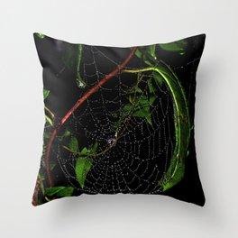 Dewy Curved Leaf Web Throw Pillow