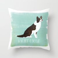 border collie Throw Pillows featuring Border Collie by 52 Dogs