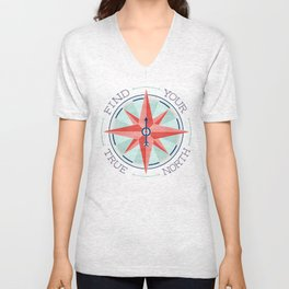Find Your True North - Red/Mint Unisex V-Neck