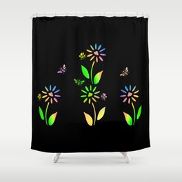 Bees And Flowers Shower Curtain