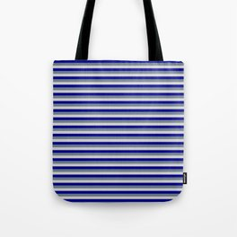 Slate Gray, Light Grey, and Dark Blue Striped Pattern Tote Bag