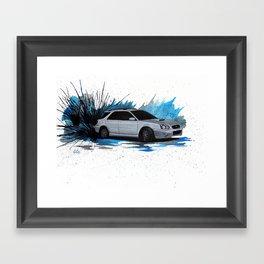 Silver Subaru WRX Wagon Drift Watercolor Painting Framed Art Print