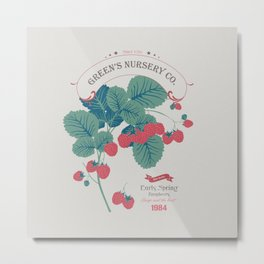 Veg Love Collection No.4 Raspberry Metal Print