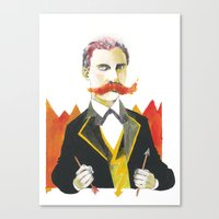 nietzsche Canvas Prints featuring Friedrich Nietzsche by Lilah Ravinskij