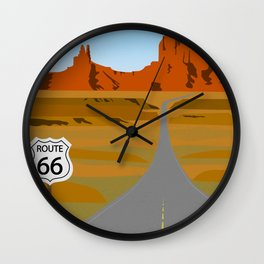 Route 66 Highway Illustration Wall Clock