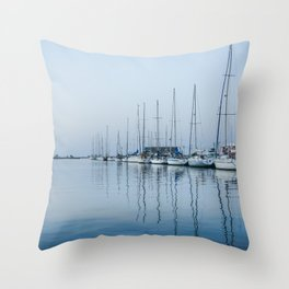 Docked sailboats and yachts on the Marina da Antiga Lota, Portugal. Throw Pillow
