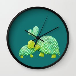 Sweet Turtle Hugs with Heart in Teal and Lime Green Wall Clock