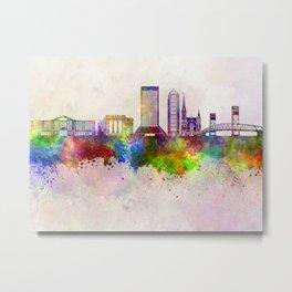 Jacksonville skyline in watercolor background Metal Print