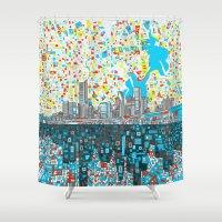 houston Shower Curtains featuring houston city skyline by Bekim ART