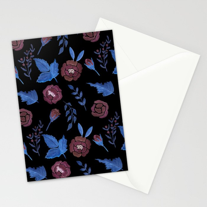 Watercolor floral red roses print on black Stationery Cards