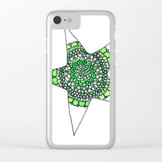 Green Superstar Mandala Star Clear iPhone Case