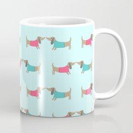 Cute dog lovers in mint background Coffee Mug