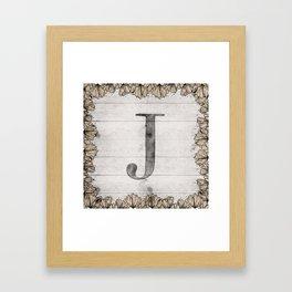 Neutral Monogram J Framed Art Print