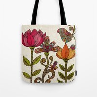garden Tote Bags featuring In the garden by Valentina Harper