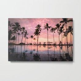 Pastel Sunset Palms Metal Print