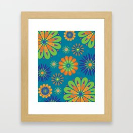 Psycho Flower Blue Framed Art Print