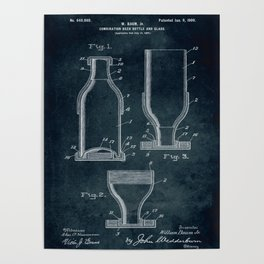1897 - Combination beer bottle and glass patent art Poster