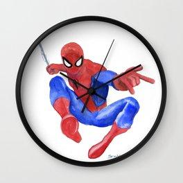 Spider-man Watercolor Painting Wall Clock