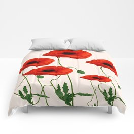 GRAPHIC RED POPPY FLOWERS ON WHITE Comforters