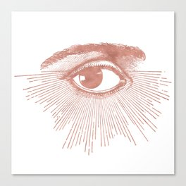I see you. Rose Gold Pink Quartz on White Canvas Print