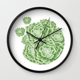 Green Succulent Wall Clock