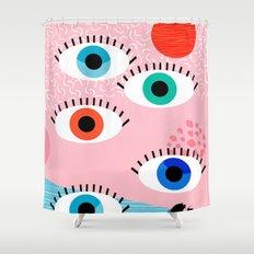 Noob - eyes memphis retro throwback 1980s 80s style neon art print pop art retro vintage minimal Shower Curtain