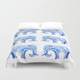 blue elephant watercolor Duvet Cover