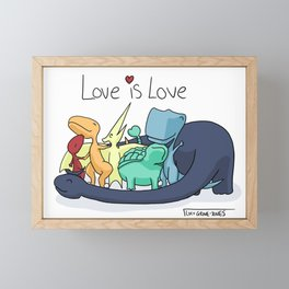 Love is Love with Dinosaurs Framed Mini Art Print