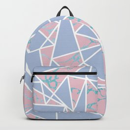 Geometric pastel blue coral abstract triangles marble Backpack