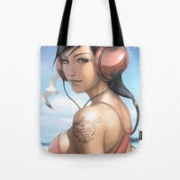 artgerm Tote Bags featuring Pepper Smile by Artgerm™